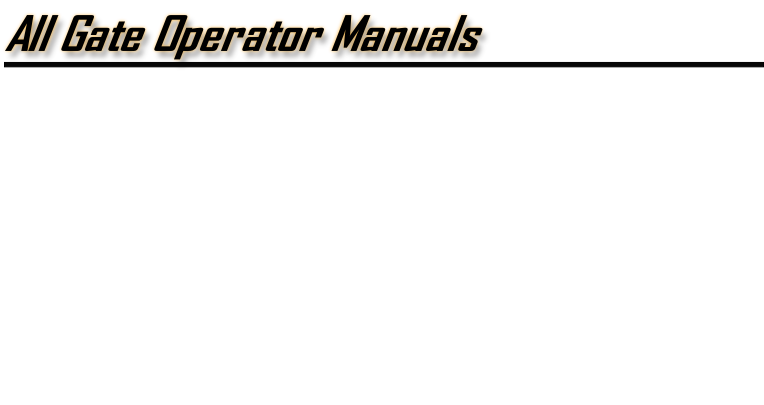 Linear Manuals | All Gate Operator Manuals on